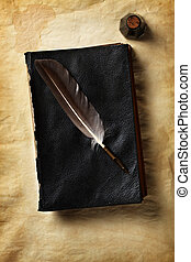 Quill on a old book