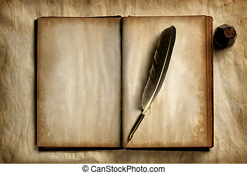 Quill on old book - Quill on old blank book