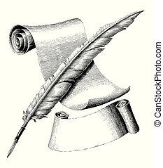 Quill pen and blank paper with banner hand drawing vintage engraving illustration, cross quill pen and paper logo style