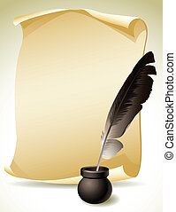Quill Pen - Vector illustration - Quill Pen with inkwell and...