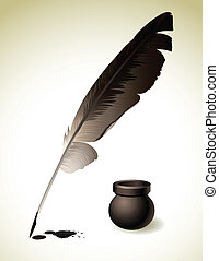 Quill Pen - Vector illustration - Quill Pen with inkwell