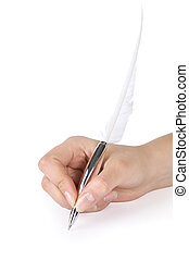 Quill pen in a hand