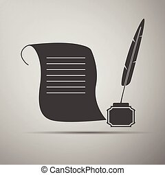 Quill Pen with inkwell and paper scroll icon.