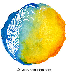 Quill with birds in watercolor circle