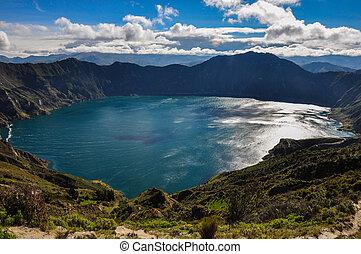 quilotoa, lago, ecuador, cráter