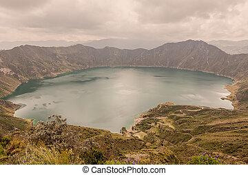 quilotoa, see, ekuador, krater