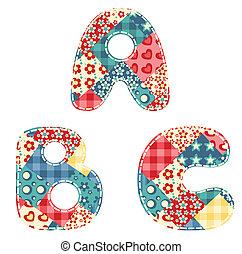 Quilt alphabet. Letters A, B, C. Vector illustration.