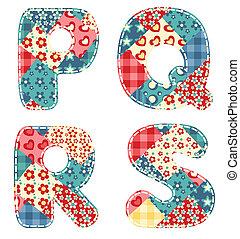 Quilt alphabet. Letters P, Q, R, S. Vector illustration.