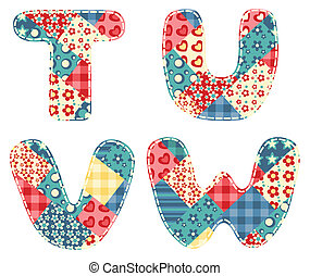 Quilt alphabet. Letters T, U, V, W. Vector illustration.