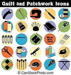 Quilt and Patchwork Icocns - Icons of tools and supplies for...