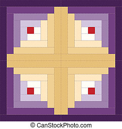 Log cabin quilt block, barn raising design variation, traditional stitched patchwork pattern. EPS8 compatible.