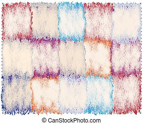 Quilt checkered carpet with colorful grunge rough weave rectangular elements