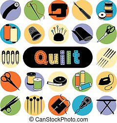 Quilt Icons - Icons of tools and supplies for sewing quilt,...