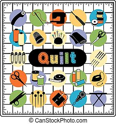 Quilt Icons on Cutting Mat