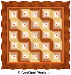 Quilt, Log Cabin Design Pattern