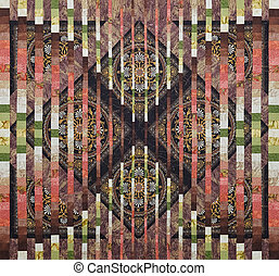 Quilt made in the style of bargello using the convergence effect