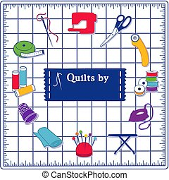 Quilt, Patchwork, DIY Sewing Icons on Blue Cutting Mat