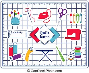 Quilt, Patchwork, DIY Sewing Icons on Cutting Mat