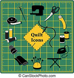 Quilt, Patchwork, DIY Sewing Icons on Green Cutting Mat