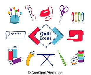 Quilt, Patchwork, DIY Sewing Icons