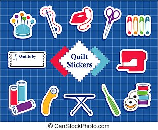 Quilt, Patchwork, DIY Sewing Stickers on Cutting Mat