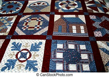 Quilt detail in red and blue tones