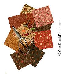 QUILT SQUARES, THREAD, SCISSOR - quilt squares with thread ...