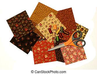 QUILT SQUARES,THREAD,SCISSOR - quilt squares with thread and...