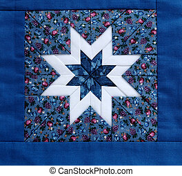 quilt star blue - quilted star in white with colorful...