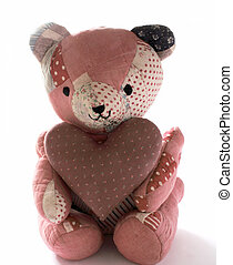 quilted bear with fabric heart - teddy bear made from...