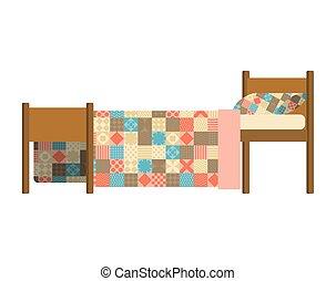 Quilted Blanket on bed. Patchwork Quilt. Hands made blanket. Vector illustration