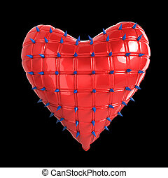 quilted heart with silver, kinky metal, steel spikes on surface, isolated black background  rendering. BDSM style valentine.