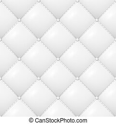 Quilted Pattern Vector. Abstract Soft Textured Background With Squares In White. Close-up View.