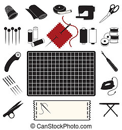 Quilting and Patchwork Icons - Collection of 20 tools,...