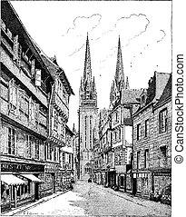 Quimper Cathedral in France vintage engraving