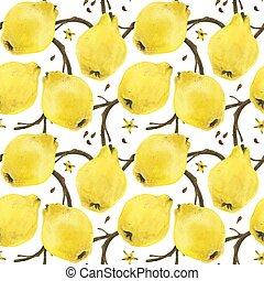 Quince branches seamless pattern - Quince branches with ...