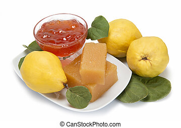 Quince cheese and jelly - Still life with homemade quince ...