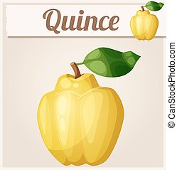 Quince fruit. Cartoon vector icon. Series of food and drink...