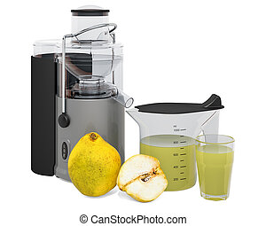 Quince juice with electric juicer, 3D rendering isolated on...