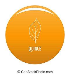 Quince leaf icon orange - Quince leaf icon. Simple...