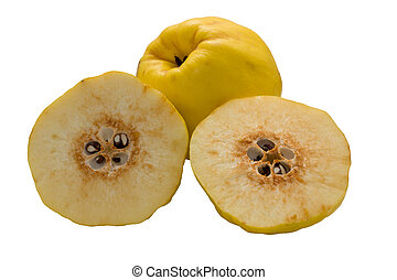 Quince  on a white background.