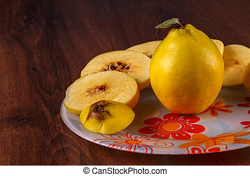 Quince on the plate