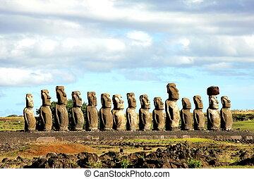 quince, pascua, moai, isla