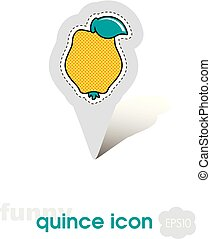 Quince pin map icon. Quince tropical fruit sign