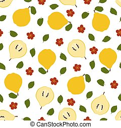 Quince. Seamless Vector Patterns on White