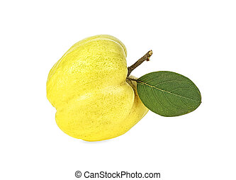 Quince with green leaf isolated on white background