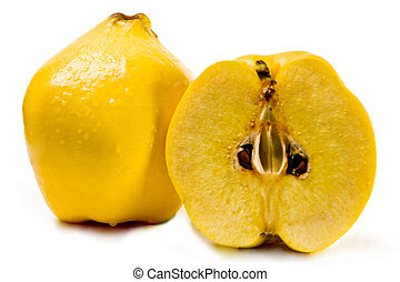 Quinces on a white background - Fresh quinces on a white ...