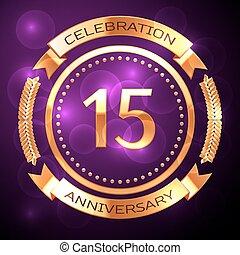 quindici, anni, celebrazione anniversario, con, dorato, anello, e, nastro, su, viola, fondo.
