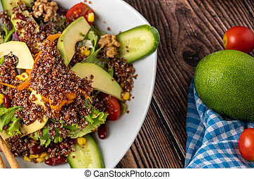 Quinoa and avocado salad. detox diet or just a healthy meal. Selective focus with extreme shallow depth of field.