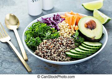quinoa, bol, vegan, légumes